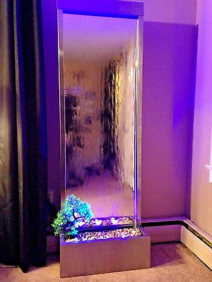 "FLOOR WATERFALL XXL 72""x24"" St. Steel Mirror, Color Lights, Remote Ctrl $100 OFF"
