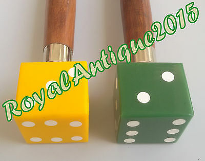 Antique Wooden  Walking Set Of Two Sticks With Colored Dice Head Handle 36""