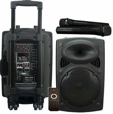 Portable Bluetooth Karaoke Machine Speaker Led Lights 2 Microphones Vocalstar Mt