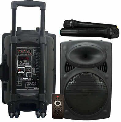 Portable Karaoke Machine Speaker 2 Wireless Mics 300w Bluetooth Vocal-Star CX12