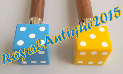 "Canes 36"" Fantasy Yellow & Sky Blue  Dice Head  Handle Walking Set Of  Sticks."