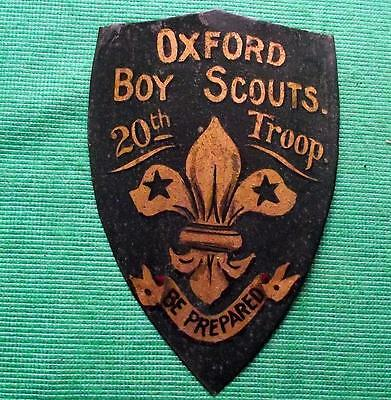 c1920 Vintage Fleur de Lis 20th Oxford Troop Boy Scout Tin Crest Shield Plaque