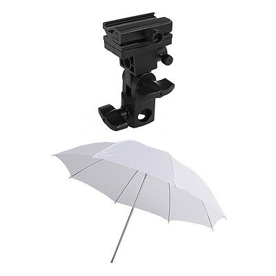 "Photography Studio Flash Light Bracket Holder Mount B & 33"" Soft White Umbrella"