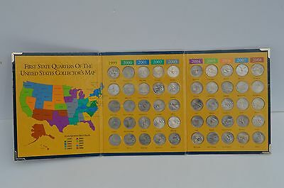 Complete Set First State Quarters Collectors Map 1999 - 2008 Excellent Condition