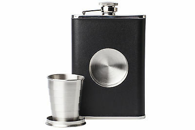 8oz & Leather Hip Flask with Collapsible Built in 60ml Shot Glass Brand New