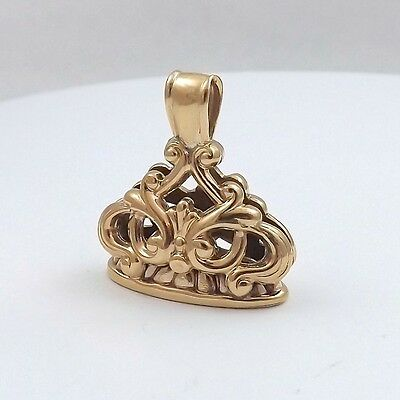 Victorian 10K Yellow Gold Ornate 3d Wax Seal Charm Pendant Watch Fob 6gr