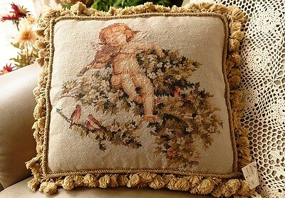 "16"" Stunning VTG Whole Petit Point Tapestry Pillow Cushion Cherub Cherry Blossom"