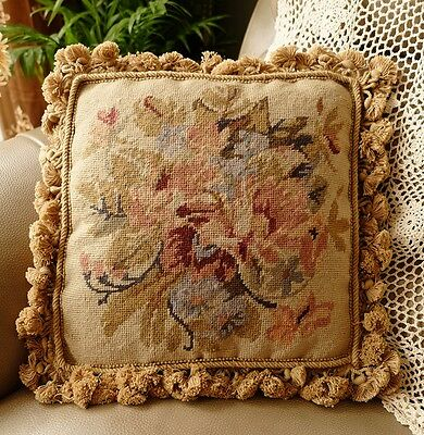 "14"" VTG French Country Shabby Farmhouse Floral Needlepoint Pillow Cushion Cover"
