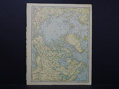 Antique Map, 1906, North Polar Regions, Principal Routes of Discovery M6#02