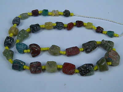 Ancient Fragment Glass Beads Strand Roman 200 BC  #ML1125