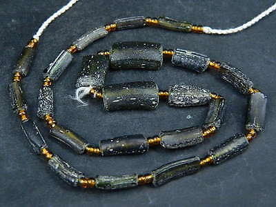 Ancient Fragment Glass Beads Strand Roman 200 BC #BE1402