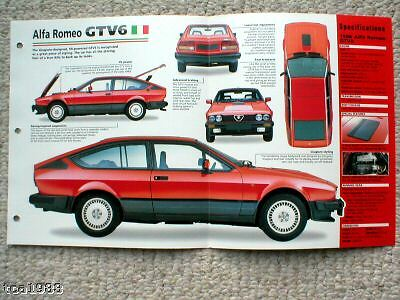 ALFA ROMEO GTV6 SPEC SHEET/Brochure/Flyer/Catalog:1986, '86