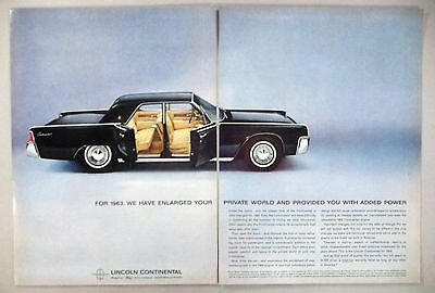 Lincoln Continental 2-Page PRINT AD - 1962 ~~ 1963 model