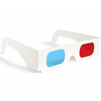 10 x 3D Glasses Red/Blue Cyan Paper Card 3-D Anaglyph Glasses WHITE