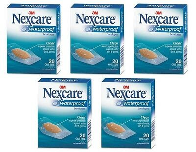 5 Pack - 3M Nexcare Waterproof Clear Bandages One Size 20 Each