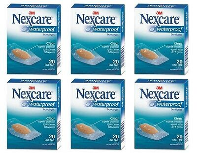 6 Pack - 3M Nexcare Waterproof Clear Bandages One Size 20 Each