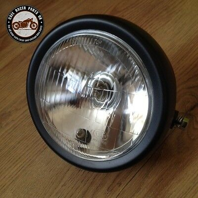 New 6 Inch Black Motorcycle Side Mount Headlight Round Halogen Cafe Racer Bobber