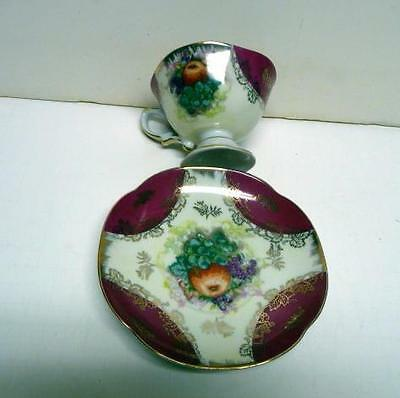 L. M. Royal Halsey Very Fine China Footed Cup&saucer Orchard Fruit Pattern