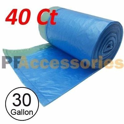 40 Ct 30 Gallon Can Bottle Recycling Drawstring Large Trash Bag Garbage (Blue)