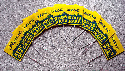 "8 PLEASE KEEP DOGS OFF GRASS 8""X12"" Plastic Coroplast Signs w/Stakes  yell/green"