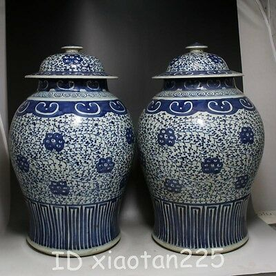 Chinese Blue & White winding branch flower Porcelain Vessel pot Pair W5951