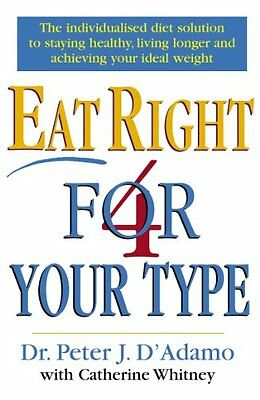 Eat Right 4 Your Type By Dr Peter D'Adamo, Catherine Whitney. 9780712677165