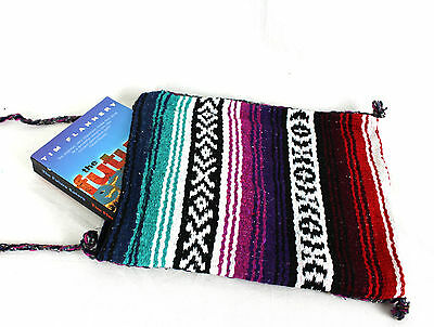 Shoulder bag Boho hippy tote purse blue purple red beach bag Made in Mexico