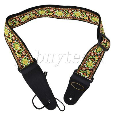 Woven Nylon Guitar Strap & Leather Ends for Acoustic & Electric Multicolor