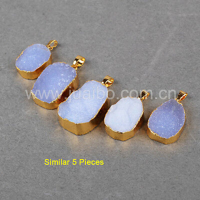 5Pcs Natural Druzy Blue Lace Chalcedony Pendant With Gold Plated Edge GG0716