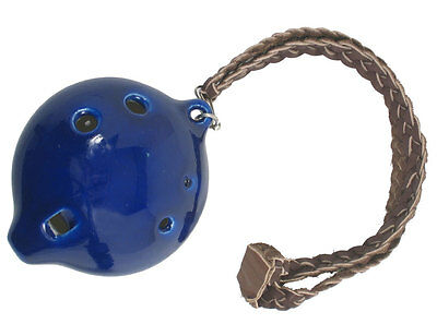 Atlas Large CERAMIC OCARINA in D, 6 Holes. Blue glaze. From Hobgoblin Music