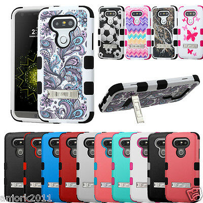 Anti-Shock Dual Layered Hard Case+Soft Skin w/Stand Cover for LG G5