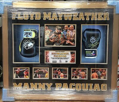 Framed Floyd Mayweather and Manny Pacquiao Dual Signed Boxing Glove RARE COA