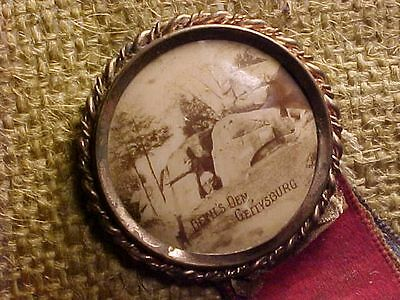 Original Early Gettysburg Devils Den Photo Button Civil War Pin