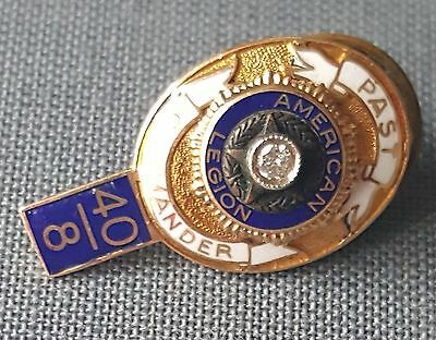 American Legion 14K Gold and Diamond Past Commander Service Enamel Award Pin