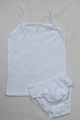 Girls 2 piece Underwear Camisole Vest & Knickers Briefs White Cotton Size 7-13 Y