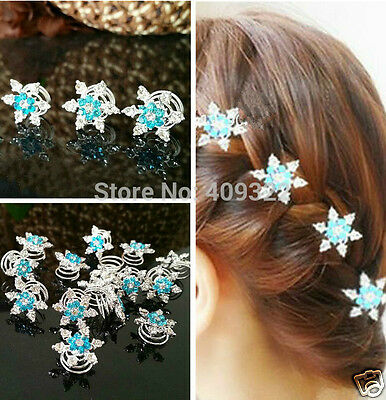 Elsa Frozen Blue Snowflake Hair Pin Twists Wedding Party girls adult bridal girl