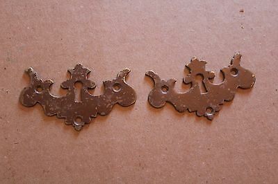 Lot Of 2 Matching Antique  Key Hole Cover Escutcheons , Furniture Parts