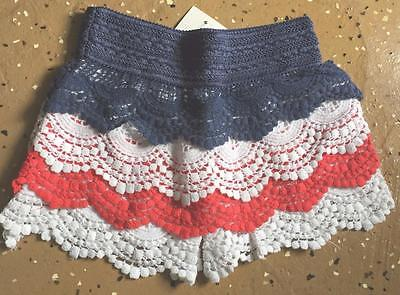 Kids Red White Blue 4th of July Girls Lace Shorts Crochet Skorts Toddler Sz 8-10