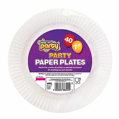"40 pcs pack  White Plain Round Paper Plates 7"" 18cm Party Catering Events"