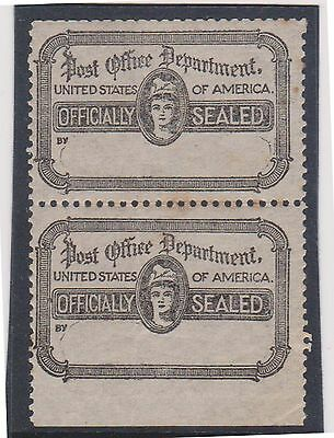 (BNA-6) 1900's USA official sealed pair imperfed bottom