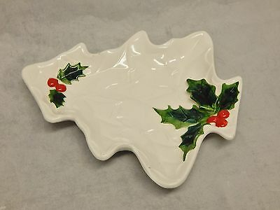 Vintage Lefton Japan Christmas Tree with Holly Berry Dish