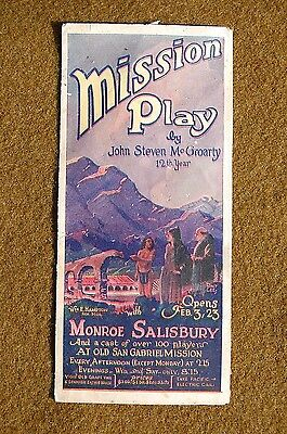 1924 San Gabriel MISSION PLAY Early California PACIFIC ELECTRIC Promo Brochure!!