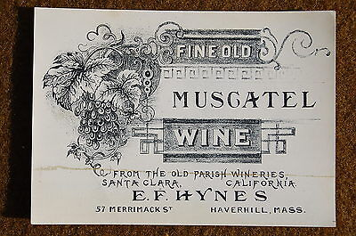 1880s-1890s era Santa Clara CALIFORNIA Wine Label Old Parish Winery Stone Litho!