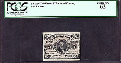 US 5c Fractional Currency 3rd Issue Red Back FR 1236 PCGS 63 Ch CU