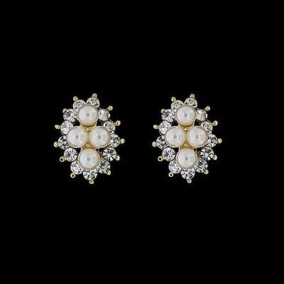 Beautiful 18K Yellow Gold Plated Cubic Zirconia & White Pearl Clip-On  Earrings