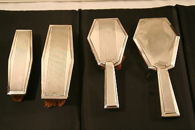 Stunning Antique 4 Pc French Art Deco Silver Brush And Mirror Set Hallmarked