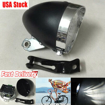 Black Vintage Bike 3 LED Retro Bicycle Headlight Front Light Fog Head Night Lamp