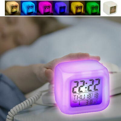 Digital Alarm Clock/LED Changing Colour Glowing/Time/Temperature/Battery/Travel