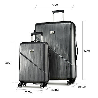 2 pieces luggage set 4 Spinner wheels Suitcase TSA Travel carry on bag Hard case
