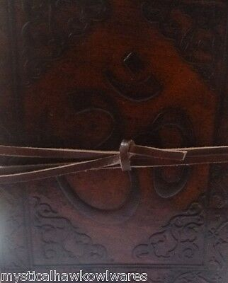 Hindu OM Leather Bound Journal/Book of Shadows/Diary 240 pages 15cm(L) x 12cm(W)